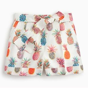 J. Crew Painted Pineapple linen shorts 8
